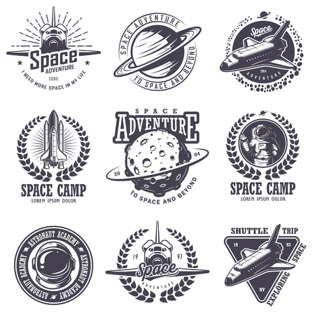Set of vintage space and astronaut badges, emblems, and labels. Monochrome style