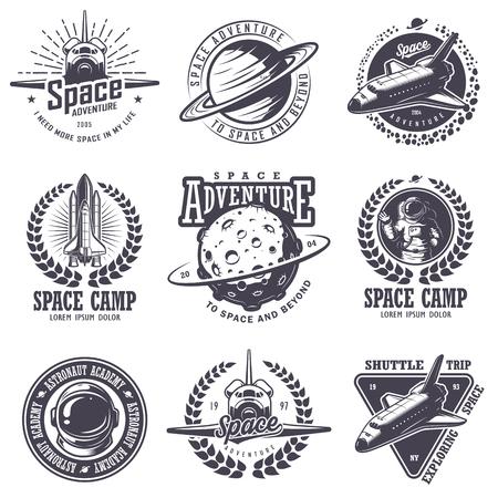 astronauta: Conjunto de insignias de época y el espacio del astronauta, emblemas y etiquetas. estilo monocromático