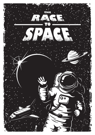 Vintage space poster with shuttle, astronaut, planets and stars. Space theme. Monochrome style.