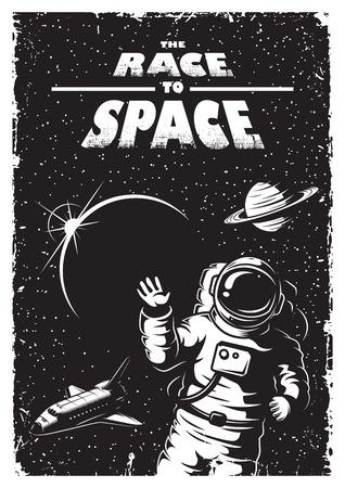 raumschiff: Vintage-Raum-Plakat mit Shuttle, Astronaut, Planeten und Sterne. Raumthema. Monochrome Stil.