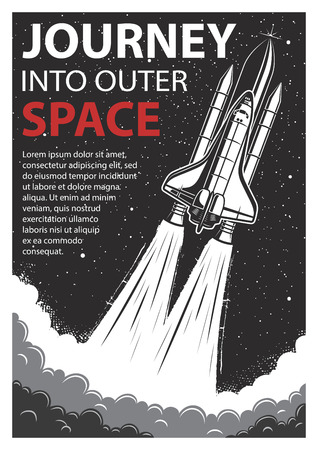 cartoon astronaut: Vintage poster with shuttle launch on a grunge background. Space theme. Motivation poster. Illustration