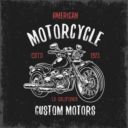 暗い背景とグランジ テクスチャにオートバイの手描きで t シャツ プリント