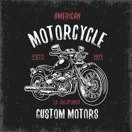 motor: T-shirt print with hand drawn motorcycle on dark background and grunge texture Illustration