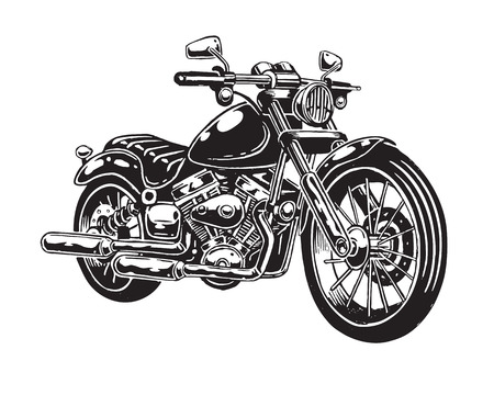 白い背景に分離された手描きのオートバイのベクター イラストです。モノクロ スタイル。  イラスト・ベクター素材