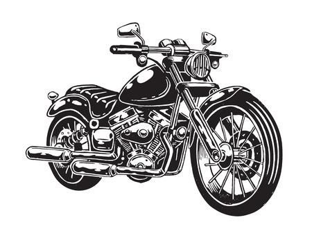 벡터 일러스트 레이 션의 손으로 그려진 된 오토바이 흰색 배경에 고립. 단색 스타일. 일러스트