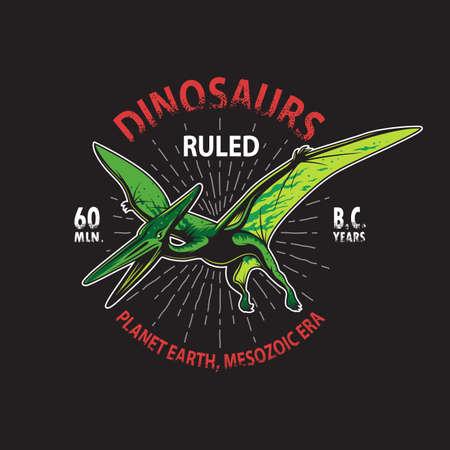 tyrannosaurs: Dinosaur pterodactyl skeleton t-shirt print. Illustration