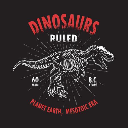 Dinosaur Tyrannosaurus skelet t-shirt drukken. Stock Illustratie