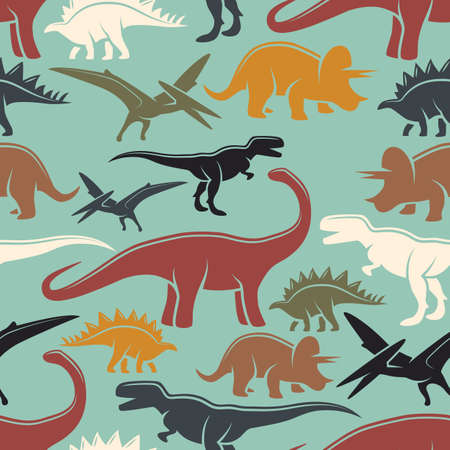 primordial: Dinosaur vintage color seamless pattern. Monochrome style.
