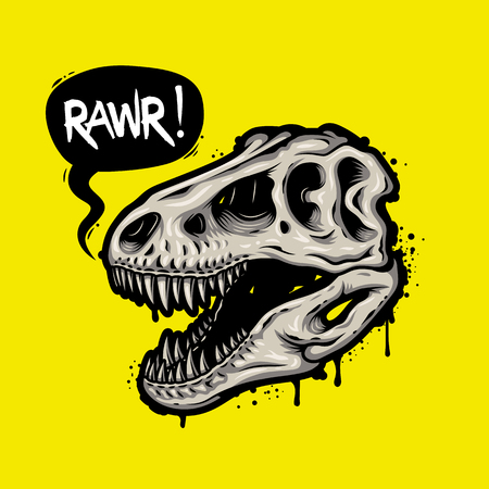 tyrannosaurs: Illustration of dinosaur skull with text bubble. Tyrannosaur Rex. T-shirt print