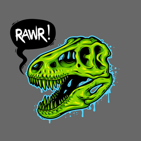 Illustration of dinosaur skull with text bubble. Tyrannosaur Rex. T-shirt print