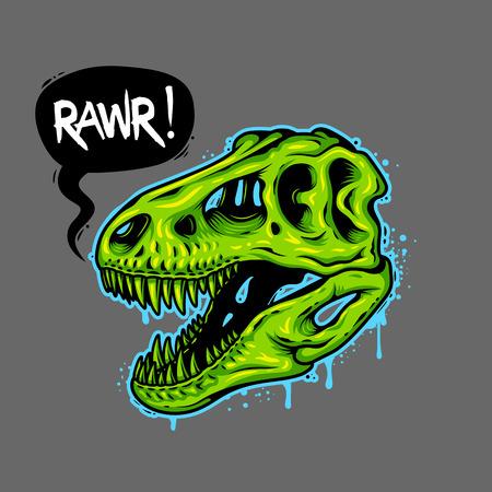 dinosaurio: Ilustración del cráneo del dinosaurio con la burbuja de texto. Tiranosaurio Rex. Camiseta de impresión