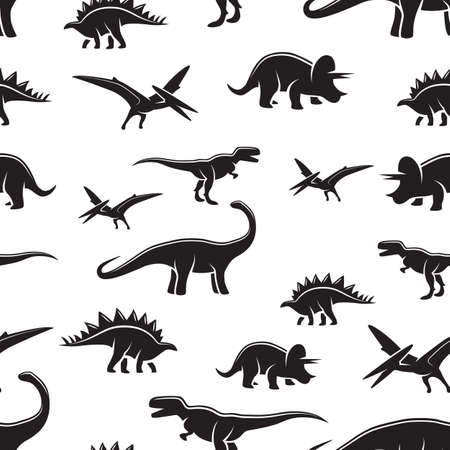 dinosaurs: Dinosaur black and white seamless pattern. Monochrome Illustration