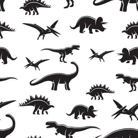 dinosaurio caricatura: Dinosaurio negro y el patrón blanco sin costuras. Monocromo