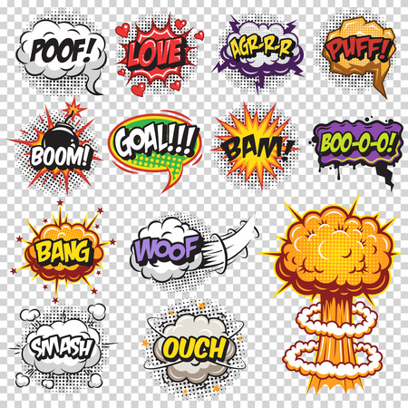 Set of comics speech and explosion bubbles. Colored with text on transparent background. Vetores