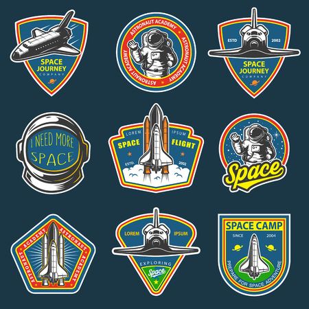 Set of vintage space and astronaut badges, emblems, logos and labels. Colored on dark background. Stock Illustratie