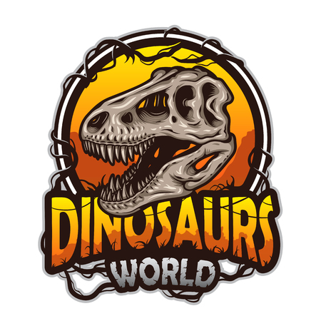 Dinosaurs world emblem with tyrannosaur skull. Colored isolated on white background