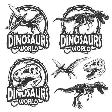 tyrannosaurs: Set of dinosaurs world emblems. Monochrome style. Isolated on white background Illustration