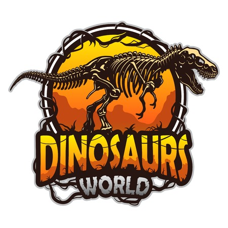 cazador: Dinosaurios emblema mundo con el esqueleto del tiranosaurio. De color aislado en el fondo blanco