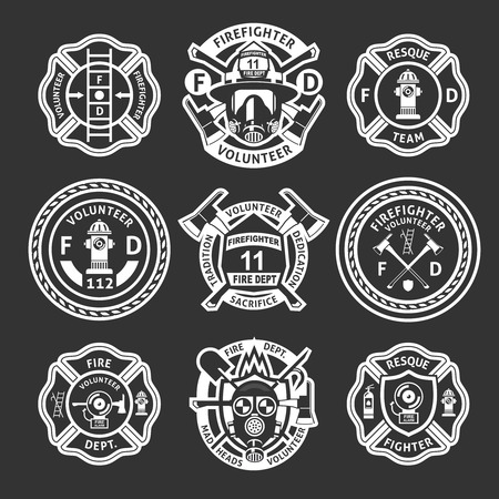 étiquette blanche Pompier ou de rayures sur le formulaire pour les pompiers sur un fond noir illustration vectorielle Vecteurs