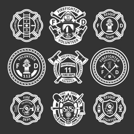 Feuerwehrmann weiß Etikett oder auf Form gesetzt Streifen für die Feuerwehr auf einem schwarzen Hintergrund Vektor-Illustration