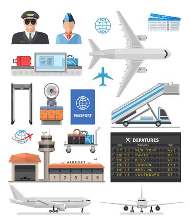 空港の要素セット  イラスト・ベクター素材