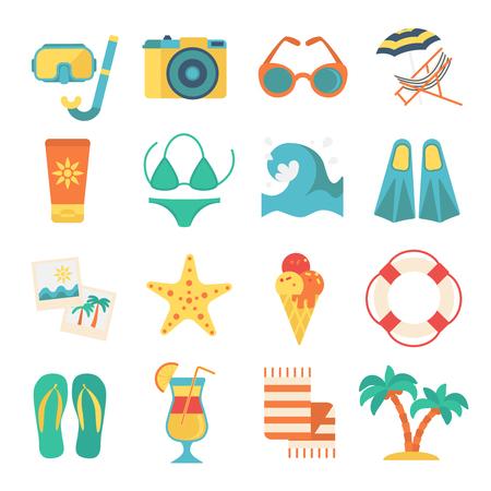 Tropical Beach Vacation Elements Set