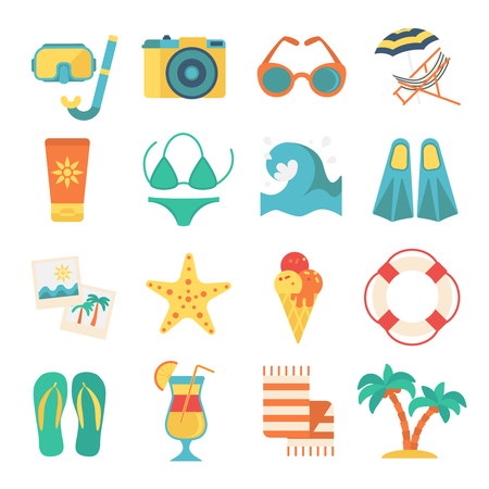 Tropical Beach Vacation Elements Set Stock Vector - 80093255