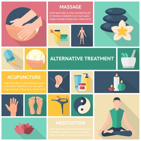 reiki: Acupuncture long shadow icon set with description of massage alternative treatment acupuncture and meditation vector illustration Illustration