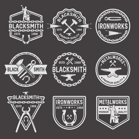 Blacksmith Labels Set Illustration