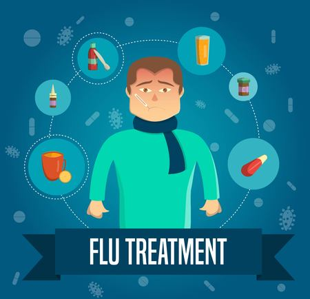 aching: Flu Treatment Template Illustration