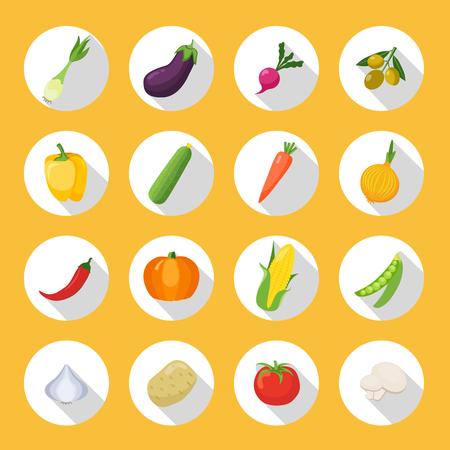 Colorful Flat Vegetables Icons Set