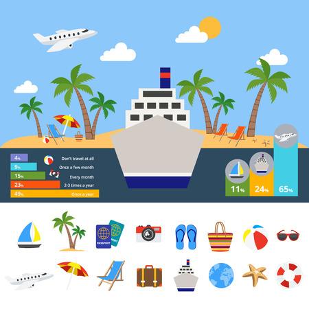 Welt des Tourismus Infografiken mit Kreuzfahrtschiff im Zentrum Symbol der globalen Reise Statistiken Diagramme Vektor-Illustration