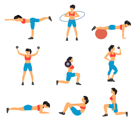 Fitness decorative flat icons set with collection of exercises with ball hoop weight dumbbells isolated vector illustration Vectores