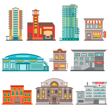 centers: Isolated city buildings icon set different heights residential buildings business centers and public buildings  vector illustration