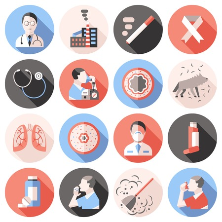 asthma: Asthma shadow icons flat set in colored circles with descriptions of about treatments allergens and sick people vector Illustration