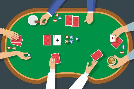 De hoogste mening van het pokerspel met vrouwelijk en mannelijk handendek van kaarten snijdt de vectorillustratie van de sigarenalcohol