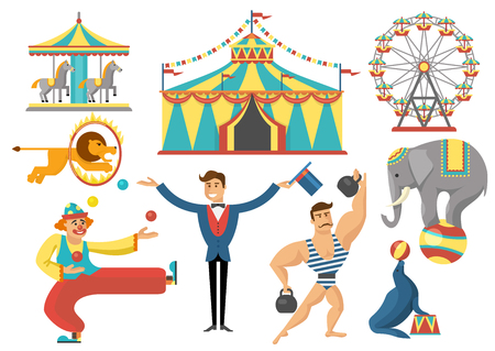 strongman: Circus decorative flat icons set with rides striped tent trained animals strongman clown isolated vector illustration