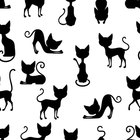 Seamless background pattern with silhouettes of black cat sitting in different poses vector illustration