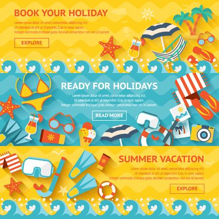 Summer Vacation Horizontal Banners Illustration