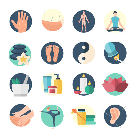 Acupuncture flat icon set needle therapy on the body isolated and colored vector illustration