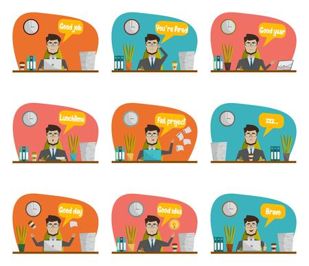 statements: Businessman in a suit sitting at workplace during the day and perform different types of work right statements icon set vector illustration Illustration