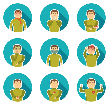 ailing: Flu symptoms icon set with ailing man and his state of health when sickness vector illustration