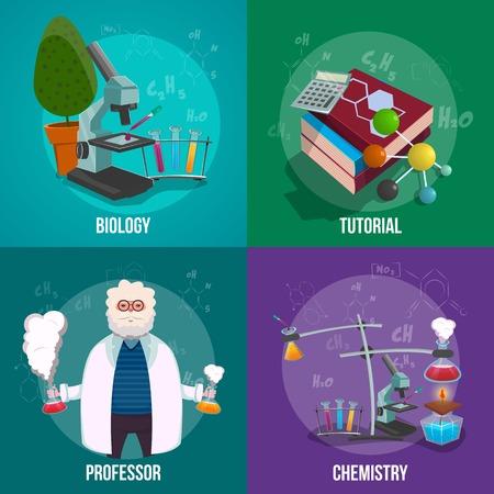 Laboratorio di Chimica tutti gli attributi dei dipendenti di laboratorio e ciò che avviene in laboratorio e di compiere esperimenti set di icone illustrazione vettoriale