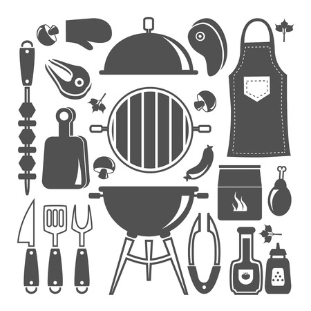 catsup: Icon flat isolated set with silhouette of various accessories and food for BBQ vector illustration