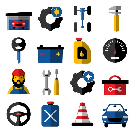 summer tires: Car service flat icons set with mechanic summer and winter tires chassis steering wheel isolated vector illustration Illustration