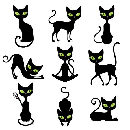 ojos negros: gatos negro del icono tiernas mascotas en varias poses con grandes ojos verdes aislados ilustración del vector Vectores