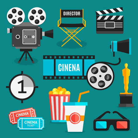 cinema viewing: Cinema icon set with equipment for filming movies awards and accessories for viewing films vector illustration