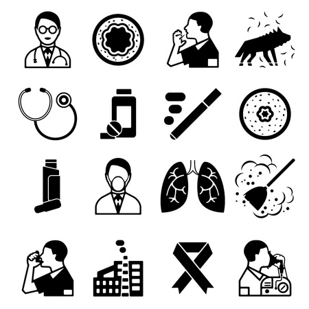 medical instruments: Asthma black isolated icons set with sick people drugs and medical instruments vector illustration