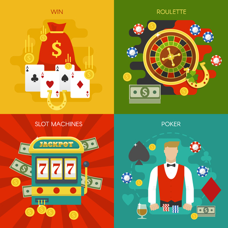 entertainments: Entertainments at casino concept with slot machine winnings roulette poker dealer cards chips horseshoe isolated vector illustration