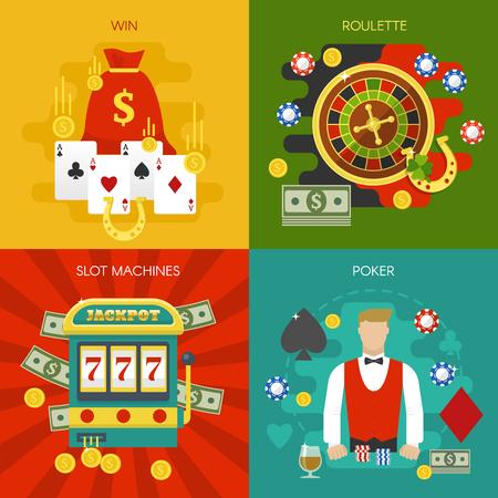 Rozrywki w kasynie koncepcja z automatem do gry wygrane w ruletkę w pokera karty rozdającego żetony podkowa na białym tle ilustracji wektorowych Ilustracje wektorowe